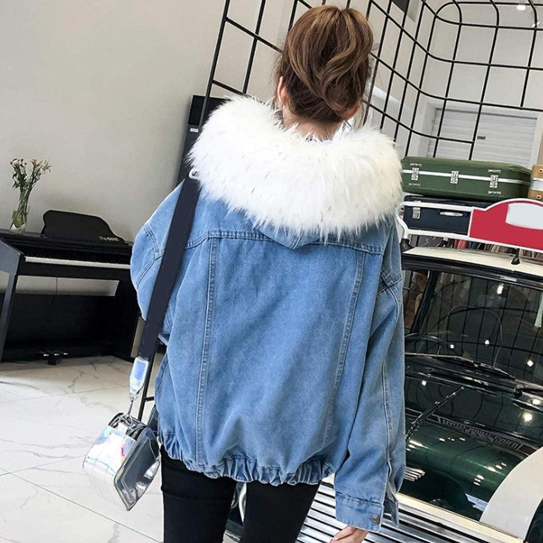 Women Denim Jacket Thick Coat Winter Warm Parka Jacket with Faux Fur Hood