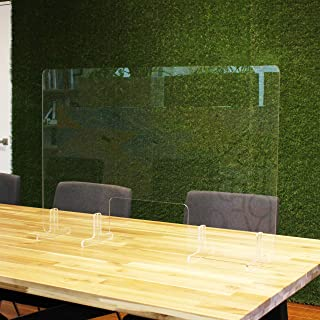 飛沫防止アクリルパーテーション Lサイズ W880×H580mm 窓あり 窓サイズ W300×H150mm 机 コロナ対策 感染予防 衝立 仕切り板 (窓あり)
