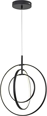 Modern LED Chandeliers for Dining Rooms, Bedrooms, Living Room, Kitchen, Entryway Orb 3 Rings Contemporary Pendant Lighting C
