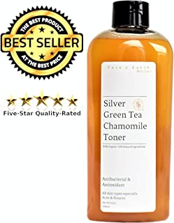 Colloidal Silver Toner with Green Tea & Chamomile 84% Organic - Alcohol & Oil Free - All Skin Types including Acne & Rosacea - Vegan pH Balanced