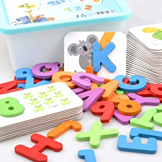 Baby Noah Toddler Animal Alphabet and Number Wooden Jigsaw Puzzle Flash Cards | ABC Letter Cards, Numbers 1 to 10 Counting Cards |Color Recognition Educational Toys Age 3 Preschool and Up
