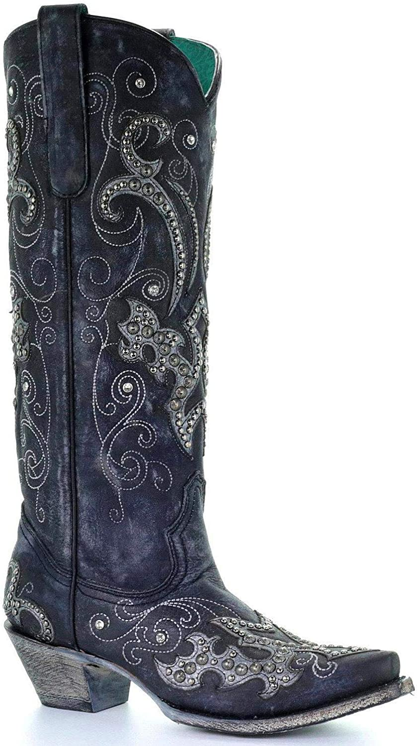 CORRAL Women's Tall Studded Overlay and Sn Cowgirl Boot Crystals Award Manufacturer regenerated product