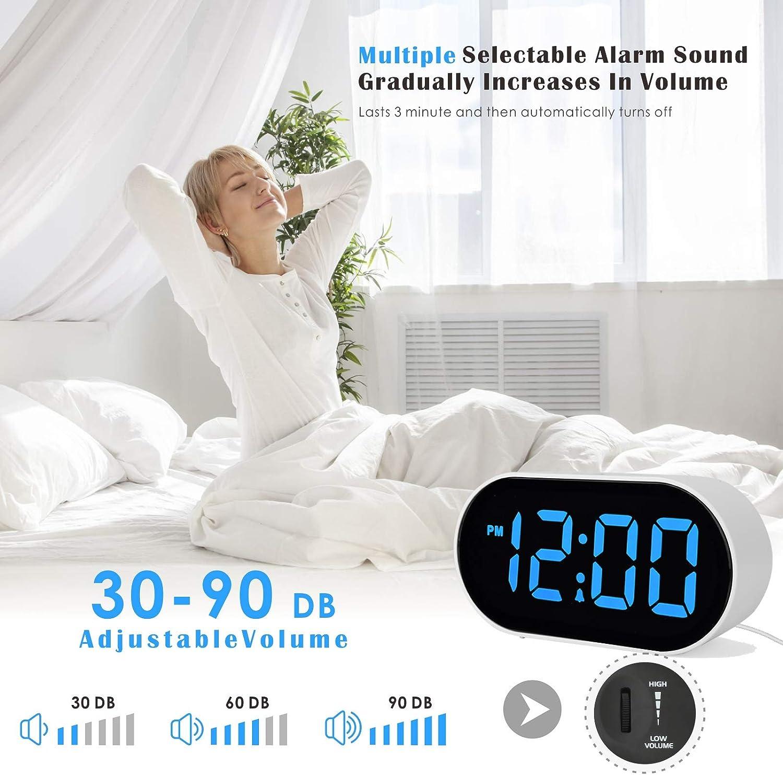 Baby Blue Kids Clocks with Snooze USB Port Phone Charger Plumeet Digital Clocks with Adjustable Brightness Dimmer and Alarm Volume LED Alarm Clock Blue Digit Display 12-24 Hrs