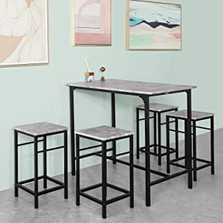 Haotian OGT11-HG, 5 Piece Dining Set,Dining Table with 4Stools,Home Kitchen Breakfast Table,Bar Table Set, Bar Table with 4 Bar Stools,Kitchen Counter with Bar Chairs