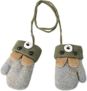 Toddler Kids Winter Warm Knit Mittens with String Plush Fleece lined Cartoon Bear Gloves for Infant Baby Girls Boys