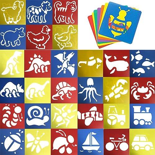 JT-Amigo Lot de 30 Pochoirs de Dessin Enfants, Animaux, Transport et Dinosaures