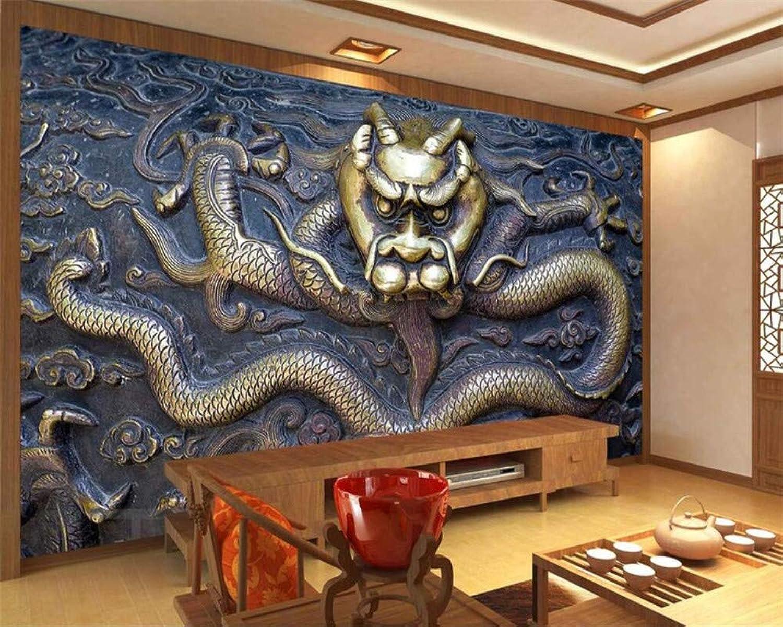 REAGONE Benutzerdefinierte Wallpaper 3D Große Drachen Relief Wandbild Tv Hintergrund Wand Wohnzimmer Schlafzimmer Hintergrund Wandbild 3D Wallpaper, 250X175 Cm (98.4 By 68.9 In) B07L5ZR29B