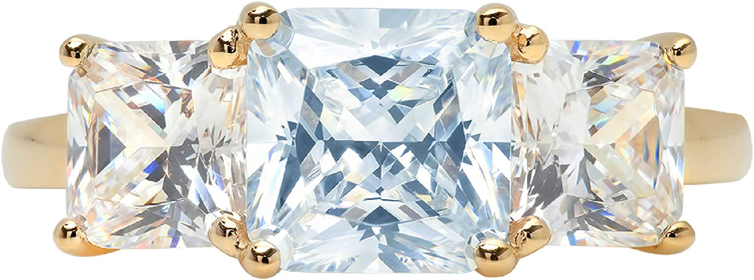 3.25ct Square Emerald Baguette cut 3 stone Solitaire Accent Natural Topaz Gem Stone Ideal VVS1 Engagement Promise Anniversary Bridal Wedding Ring 14k Yellow Gold