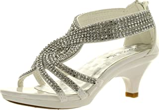 J.J.F Shoes Fabulous Angel-37K Little Girls Bling Rhinestone Platform Dress Heels Sandals