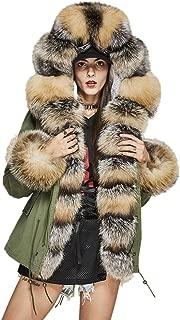 Melody Women's Luxurious Real Fox Fur Collar Cuff Hooded Coat Fur Lined Short Parkas Winter Jacket