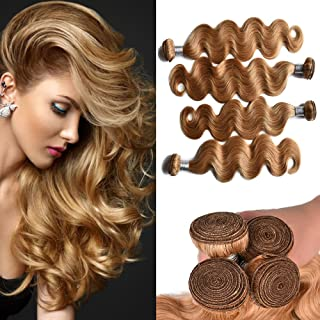 FABA Beauty 9A Grade Human Virgin Hair Bundle Deals Pure 27# Color Body Wave Hair 3 bundles Honey Blonde Body Wavy Hair About 400g 8-30 inch Mixed Length (12.14.16)