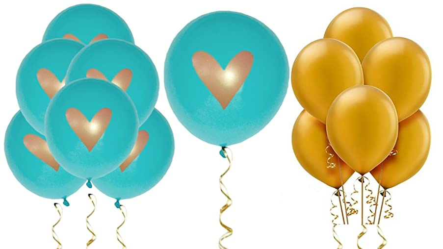 Teal Balloons Party Decorations Supplies Gold Ink Heart Love 12