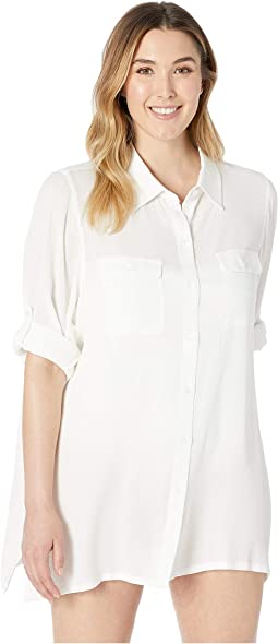 Plus Size Crinkle Rayon Cover-Up Camp Shirt
