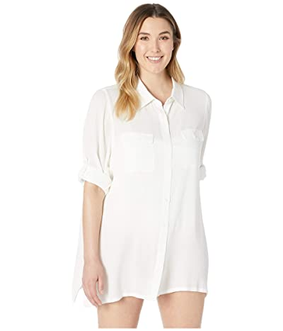 LAUREN Ralph Lauren Plus Size Crinkle Rayon Cover-Up Camp Shirt (White) Women