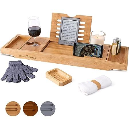 Temple Spring Table pour Baignoire avec Support pour Bougie, Verre à vin, Livre, Tablette, iPad et téléphone. Plateau de Baignoire Extensible en Bois Naturel. 100 % Bambou (Naturel)