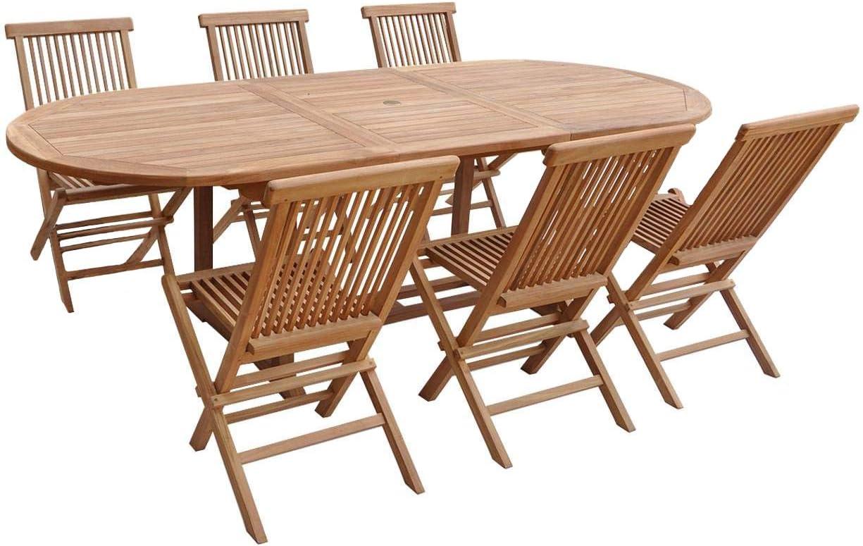 BENEFFITO SALENTO - Conjunto de jardín Mesa Ovalada Extensible y sillas Plegables en Teca - 180 a 240 CM - 8 Personas - Sillas X 6