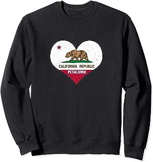 I Love Petaluma, California - CA Republic Flag Heart Sweatshirt