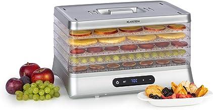 Klarstein Silver Déshydrateur, 500W, écran LED, 5 grilles en plastique, sans BPA, 35-70 °C, minuterie 1-48 heures, argent