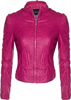 6200252a647 Instar Mode Women s Faux Leather Suede Zip Up Moto Biker Jacket Coat