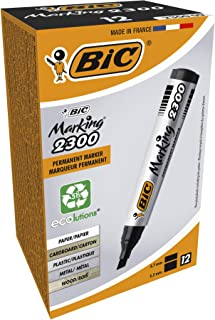 BIC Mark It 2300 Permanent Markers Medium Chisel Tip - Black, Box of 12