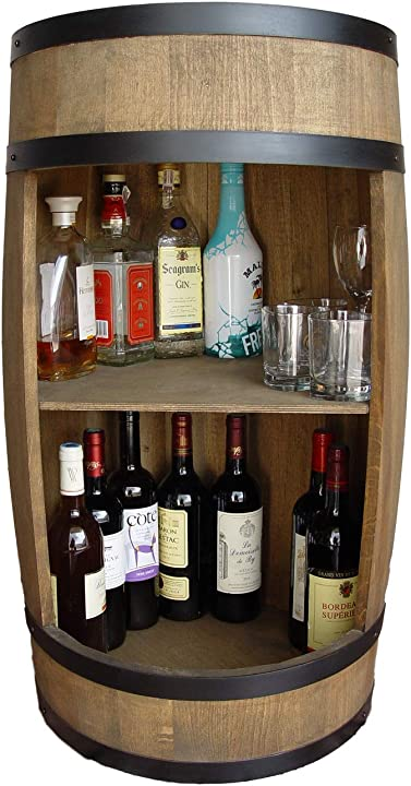 Mobile bar a forma di botte, in legno, 81 cm, con ripiano weeco B07D8JLV8Q