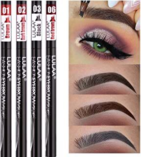Eyebrow Tattoo Pen- HRClever Waterproof Microblading Eyebrow Pencil with a Micro-Fork Tip Applicator Creates Natural Looking Brows Effortlessly,8-in-1 eyebrow pencil set