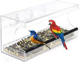 Walory Comedero para pájaros con Ventana de acrílico Transparente con 3 ventosas y Orificios de Drenaje Gran Capacidad de ...