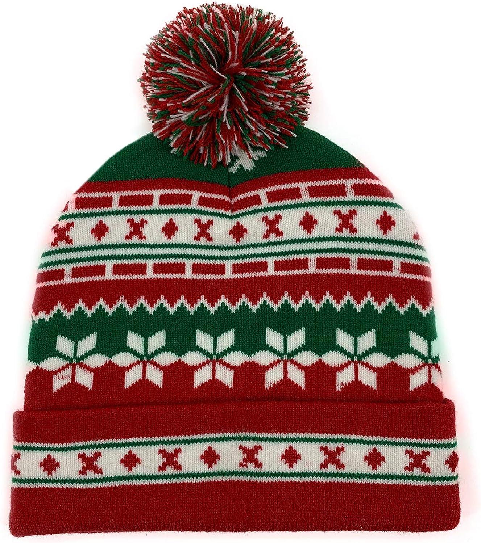 Feximzl Unisex Christmas Hat Winter Knitted Crochet Beanie Santa Hat for Women Men