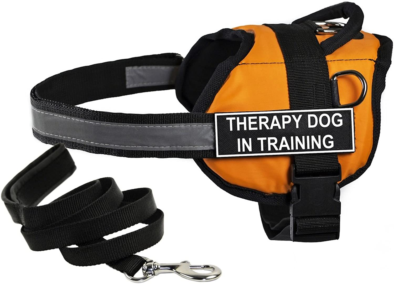 Dean & Tyler's DT Works orange THERAPY DOG IN TRAINING Harness, XSmall, with 6 ft Padded Puppy Leash.