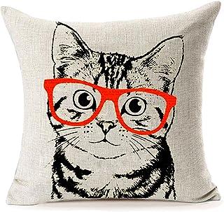Table & Sofa Linens Original Hot Cute Dog Cat Printed Home Decor Cotton Linen Throw Pillow Case Pet Sofa Waist Adorable Cushion Cover Cushion Cover
