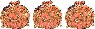 ATHZ Velvet Potli bag (Pack of 3 Potli) Peach Velvet Matka Designer Potli handbags for Women and Girls wedding party and R...