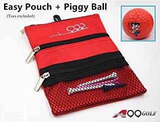 A99 Golf Eazy Pouch 3-Pocket Golf Utility Pouch w/Bag Hook + Piggy Balls Orange