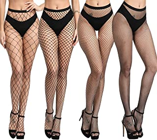 DRESHOW Fishnet Tights Stockings Sexy Seamless Nylon Large Mesh Hollow Out Pantyhose Pack 1/4