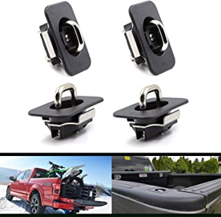 4 Pcs Retractable Truck Bed Tie Down Anchors for 1998-2014 F-150, 1998-2016 Super Duty, 1999-2013 Silverado Sierra (Does Not Fit 3500), 1995-2018 RAM (09-18 Ram Rail Cap Cut Required)