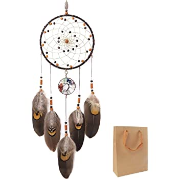 """OUTUXED Dream Catchers Tree of Life Brown Handmade Feather Native American Dreamcatcher for Bedroom Wall Hanging Home Decor Wedding Party Blessing Gift Dia 6"""""""