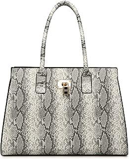 Women's PU Elegant Handbag Fashion Shoulder Bag Snake Skin Texture Totes Travel Bag