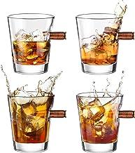 Kollea 4er Schnapsgläser Shotgläser Set, Whiskey Gläser mit Realem Geschoß Cal.308, Mundgeblasener Shot Gläser, Kristall W...