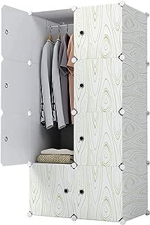KOUSI Portable Closet Wardrobe Closets Clothes Wardrobe Bedroom Armoire Storage Organizer with Doors, Capacious,Sturdy, 5 Cubes 1 Hanging Clothes