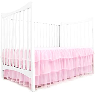 Tadpoles Triple Layer Tulle Nursery Crib Skirt for Baby Boys or Girls, Pink, Crib-Size