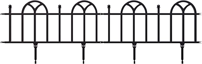 Garden Edging Border- Flower Bed Edging for Landscaping- Victorian Fence, 4 Piece Set of Interlocking Outdoor Lawn Stakes by Pure Garden (8')