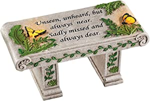 Solar Powered LED Outdoor Garden Memorial Bench with Heartwarming Inscription - Perfect Faux Stone Plaque Statue to Remember Loved Ones 12