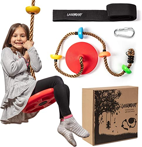 wholesale Climbing Rope Tree Swing outlet sale with Platforms and Disc Swings Seat - Playground Swingset Accessories Outdoor for Kids - Trees House Tire Saucer Swing Outside online sale Playset Toys - Carabiner and 4 Ft Tree Strap sale