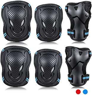Labeol 6 Pack Armbow and Knee Pads Adult Skateboard Ice Roller Skating Protective Gear Kids