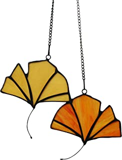 Alivagar Stained Glass Leaf Window Hangings Ginkgo Leaves, 4