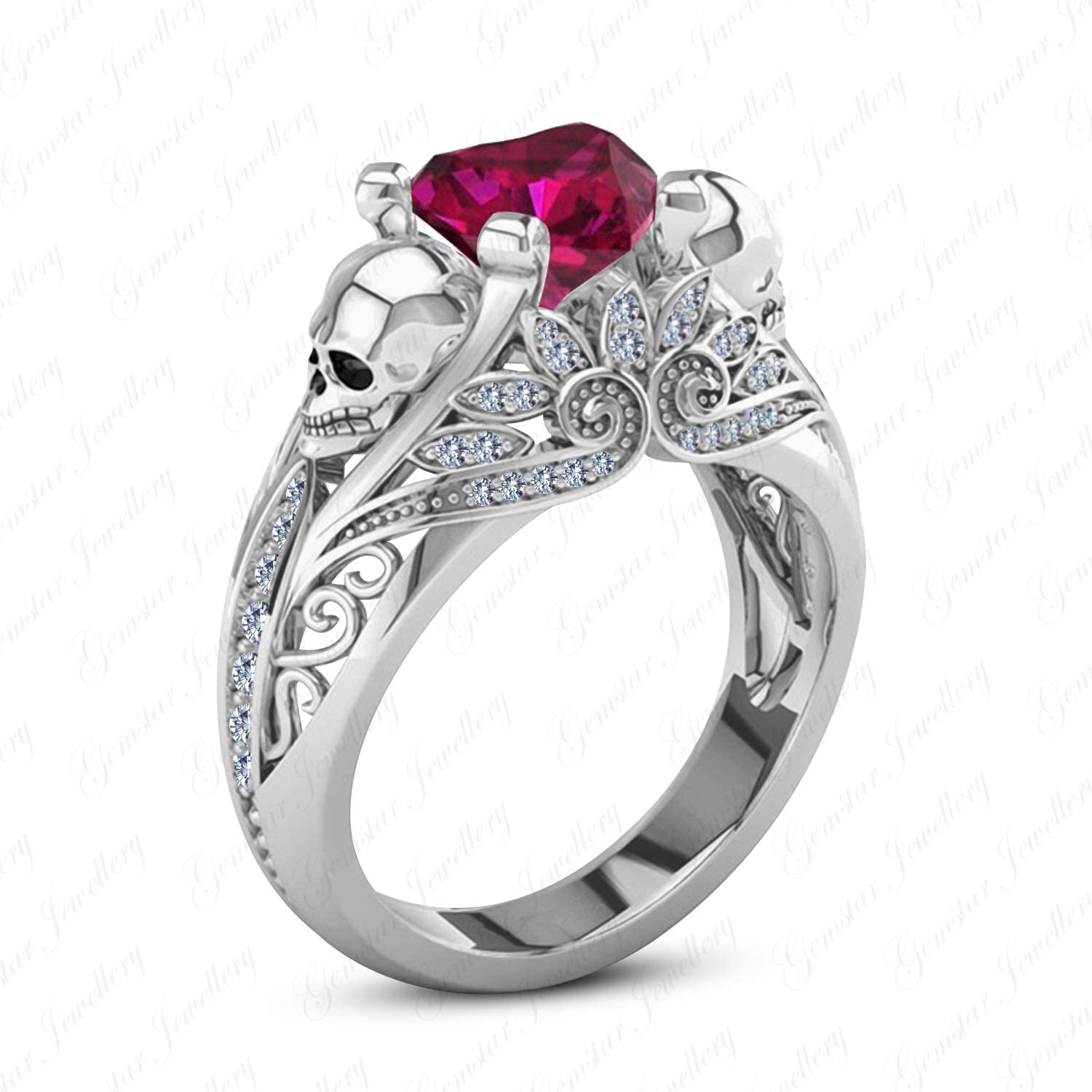 Gemstar Jewellery 18k White gold Filled Heart Cut Red Ruby Women's 925 Sterling Silver Skull Ring