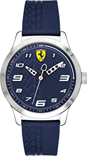Ferrari Pitlane, Quartz Stainless Steel and Silicone Strap Casual Watch, Blue, Boy, 840020