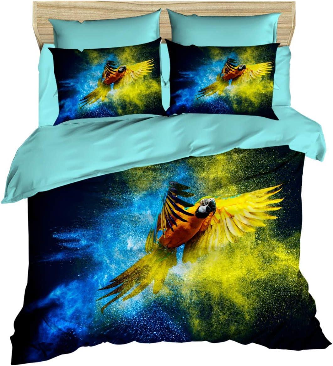 Parrot Bedding Set 3D Printed 100% お求めやすく価格改定 ショッピング Duvet Cotton Themed C
