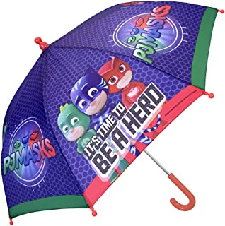 PJ Masks Kids Umbrella - Children Stick Umbrella with Catboy, Owlette and Gekko - Windproof and Resistant Brolly - Safety Opening - 3 to 5 Years - Blue - Diameter 66 cm - Perletti