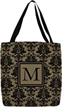 Manual Woodworker & Weavers Shopping Tote Bag, 13-Inch, Monogrammed Letter M, Black and Gold Damask