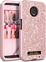 Motorola Moto Z3 Play Case, WeLoveCase Luxury Glitter Sparkle Bling Cases 3 in 1 Shockproof Three Layer Heavy Duty Hybrid Protective Cover Case for Motorola Moto Z3 Play Rose Gold/Pink